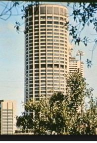 Australia Square . The revolving O Bar & Restaurant is on the 47th level; the 3rd darker ring from the top. The 48th level is the observation 'deck'