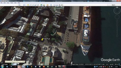 Thanks be to Google Earth for this shot. I've marked the pub as you see :)