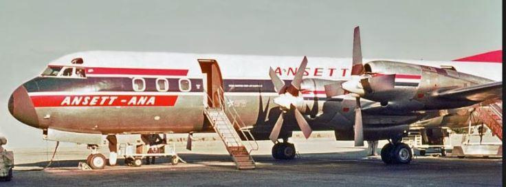 Ansett's 'Goose'; Lockheed Electra L-188A at Essendon December 1961